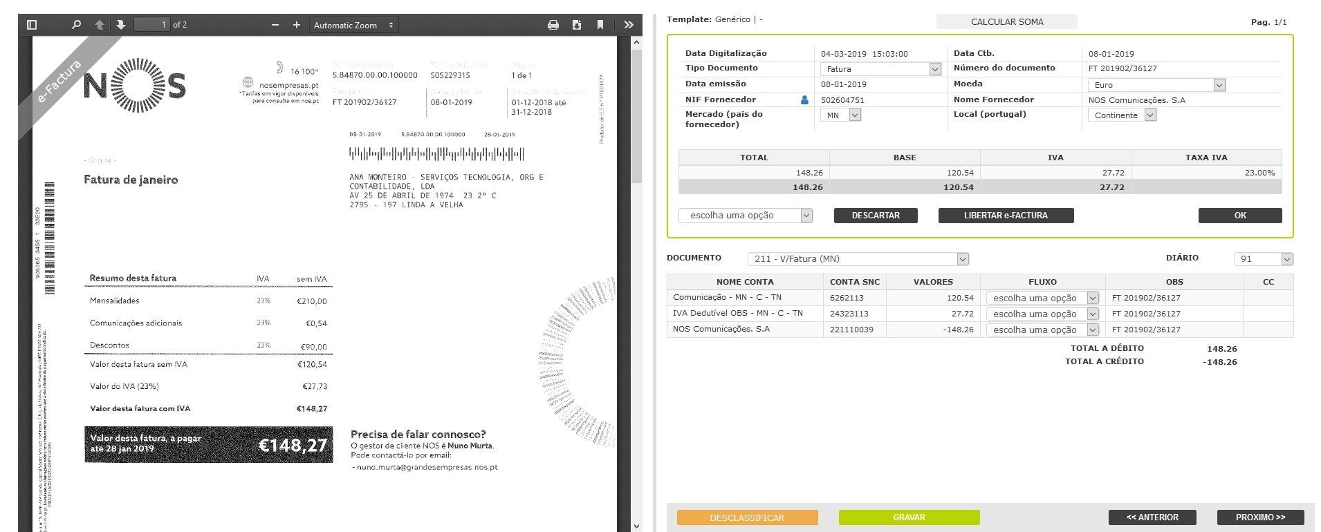Classificação automática com dados extraídos por AV ou e-Factura