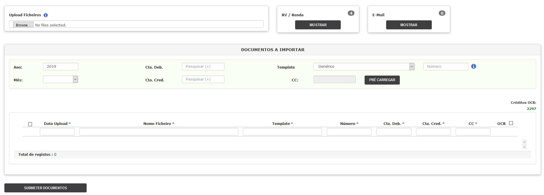 Upload dos documentos e envio para extracção de dados via AV